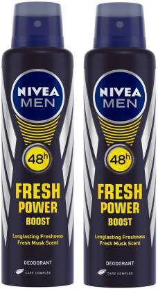 Nivea Men Fresh Power Boost Deodorant Spray (Pack of 2)