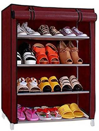 KEEKOS Metal Shoe Rack  (Maroon, 4 Shelves)