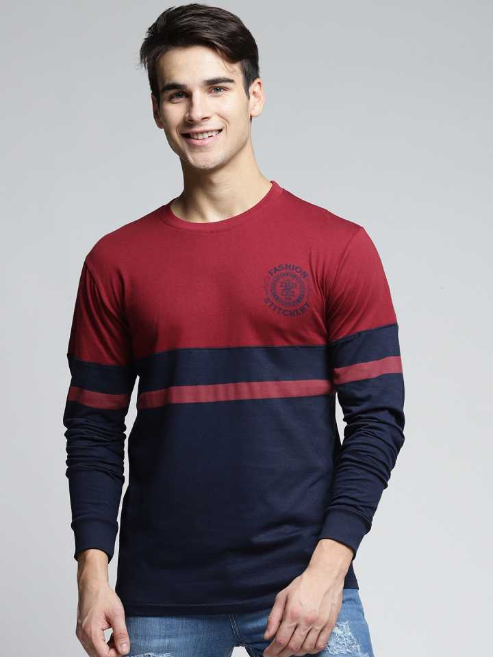 Color block Men Round Neck Maroon T-Shirt