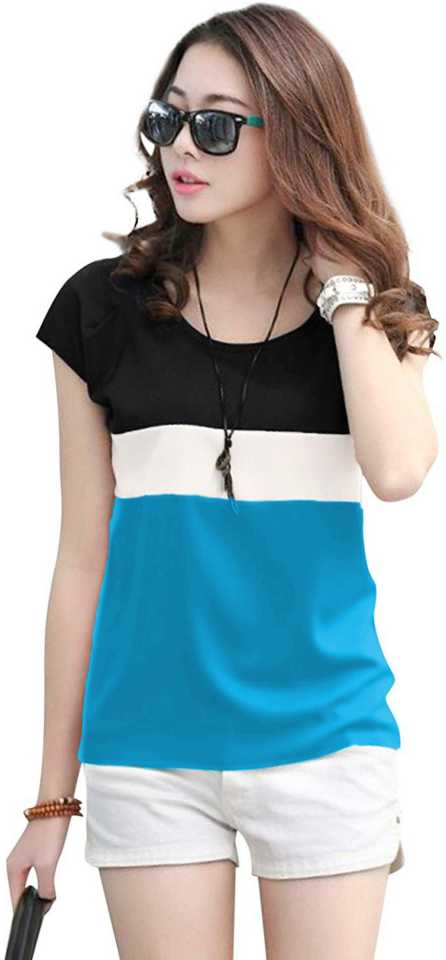 Elepants Color Block Women Round Neck Multicolor T-Shirt