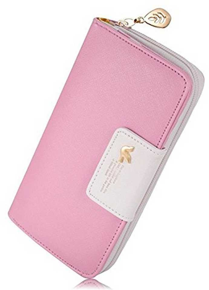 Women Pink Fabric Wallet (11 Card Slots)