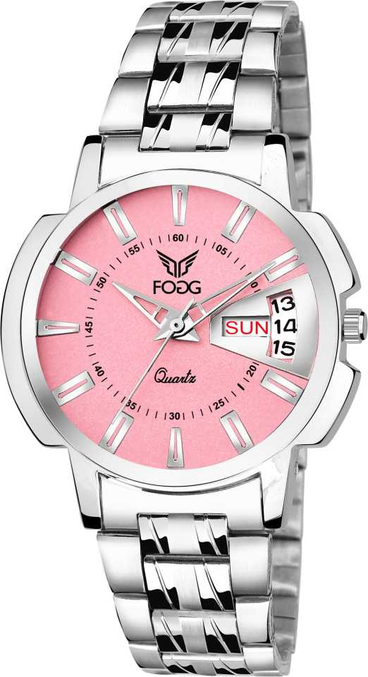 Fogg 4054-PK Pink Day and Date Analog Watch