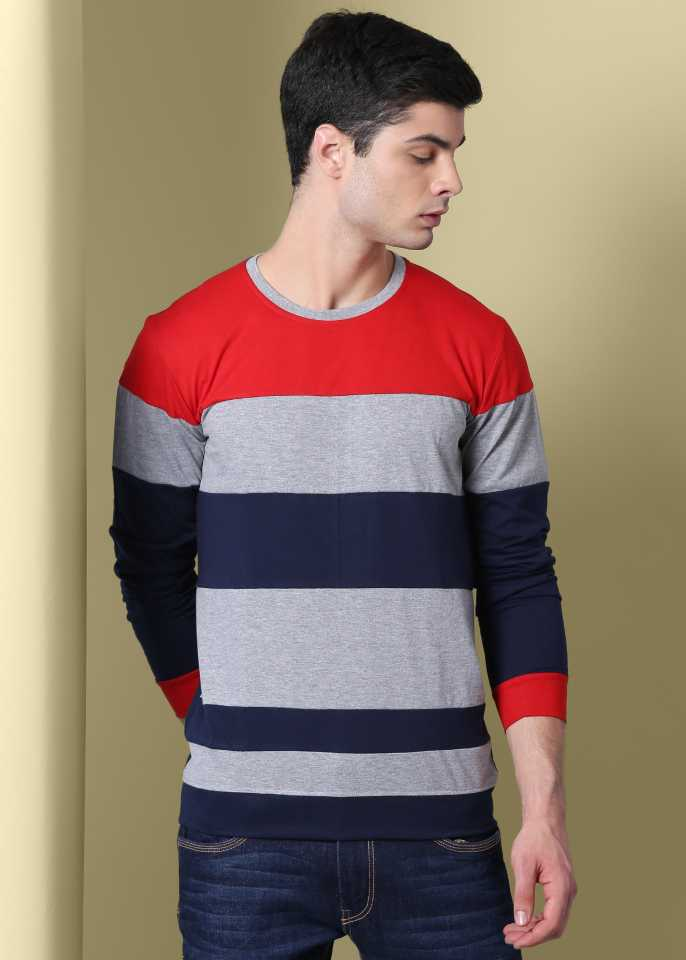 Striped Men Round or Crew Dark Blue T-Shirt