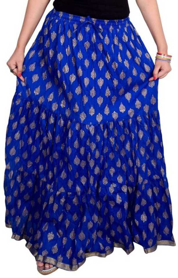 Women Printed Regular Blue Skirt