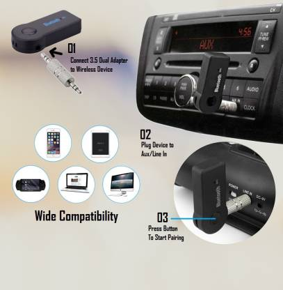 Car Bluetooth Device with 3.5mm Connector, USB Cable, Audio Receiver, Adapter Dongle