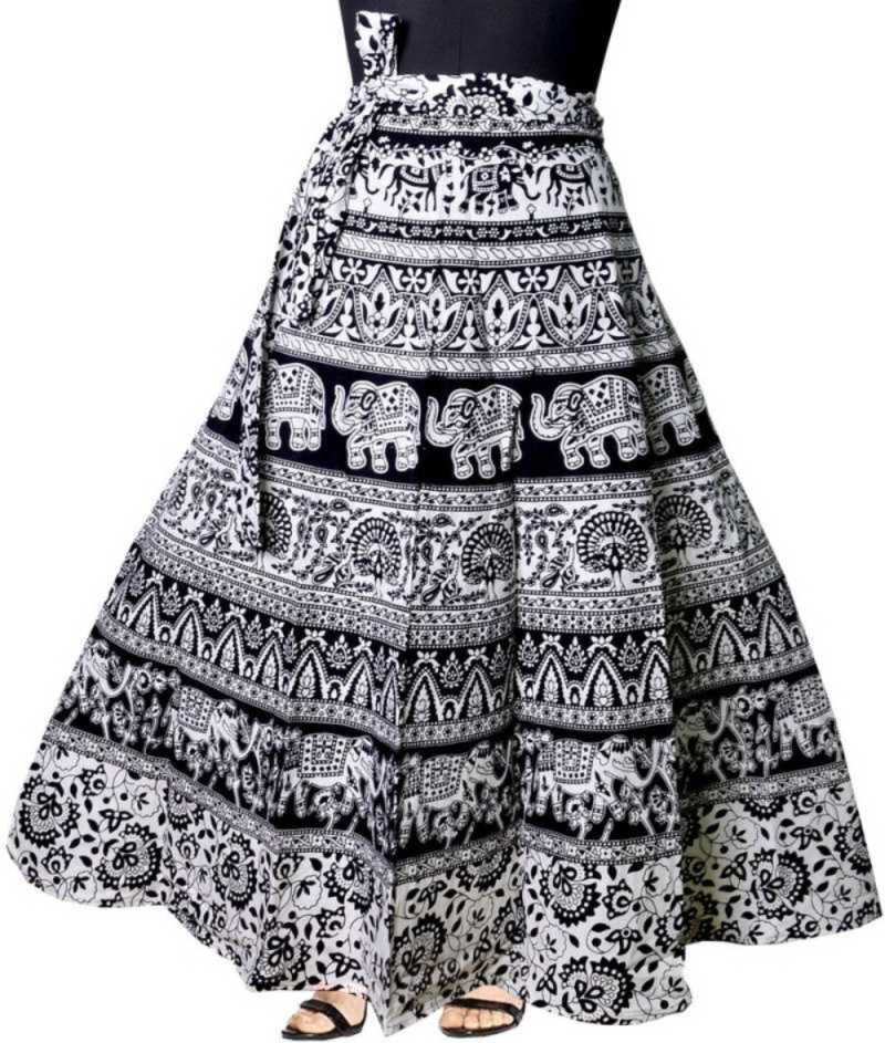 Modern Kart Women Printed Wrap Around Black Skirt