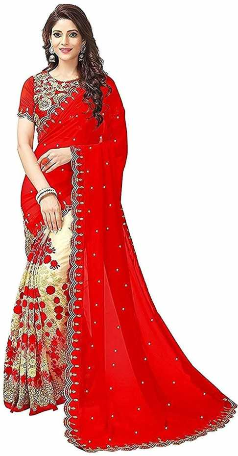 Embroidered Bollywood Net, Georgette Chiffon Blend Saree