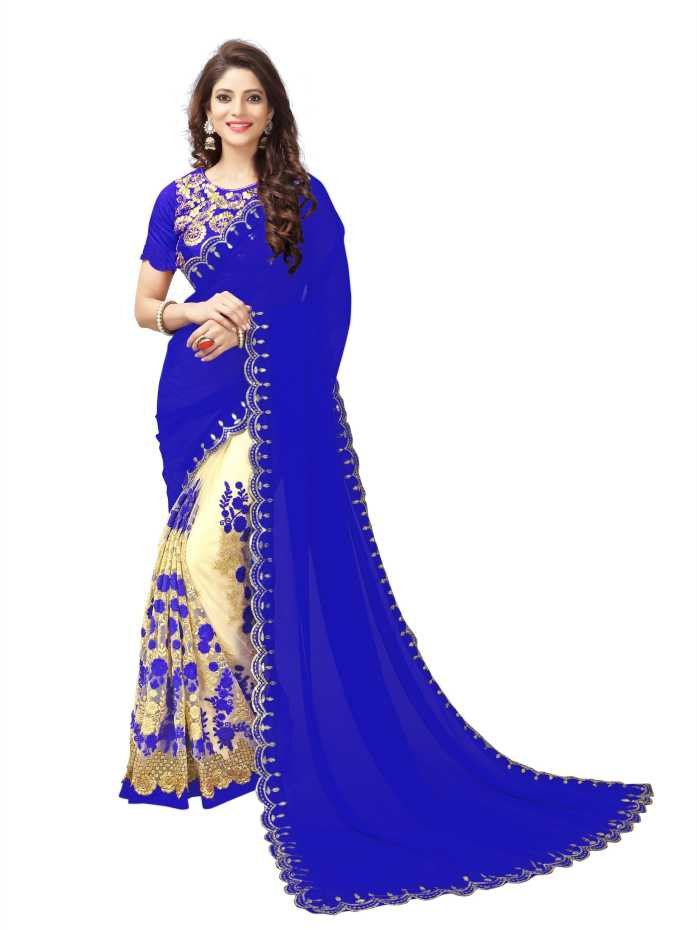 Embroidered Bollywood Net, Georgette Saree