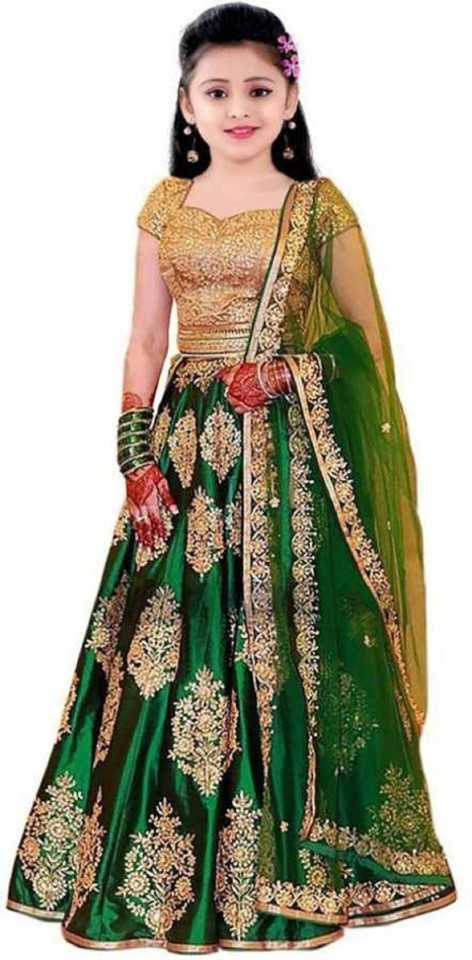 Girls Lehenga Choli Ethnic Wear Embroidered Lehenga, Choli and Dupatta Set
