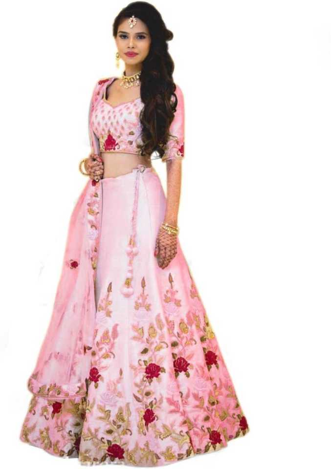 Embroidered Semi Stitched Lehenga, Choli and Dupatta Set  (Pink)