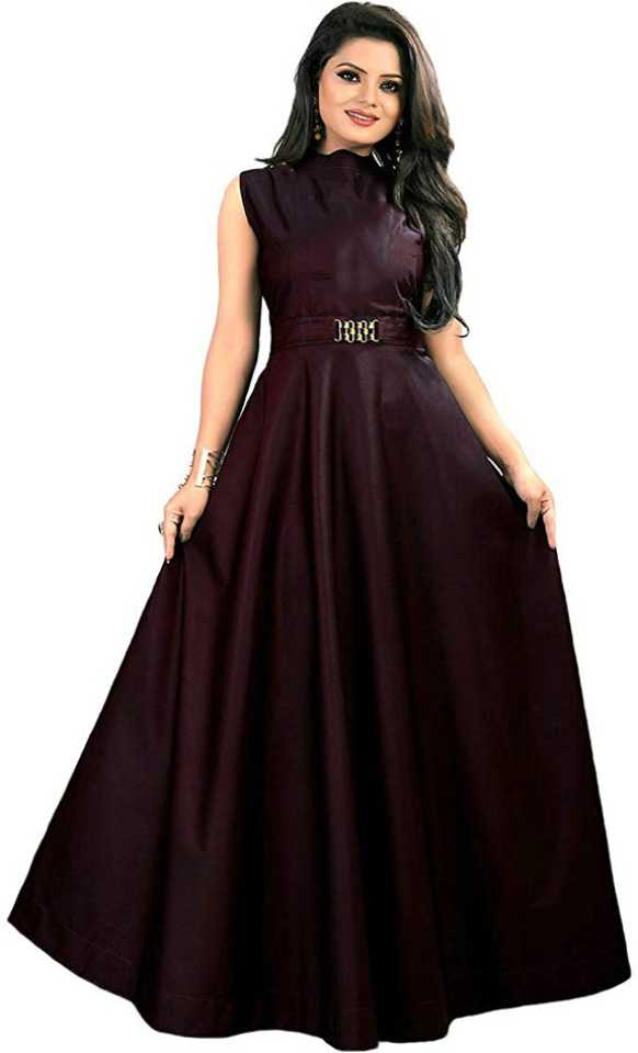 Solid Satin Blend Stitched Anarkali Gown
