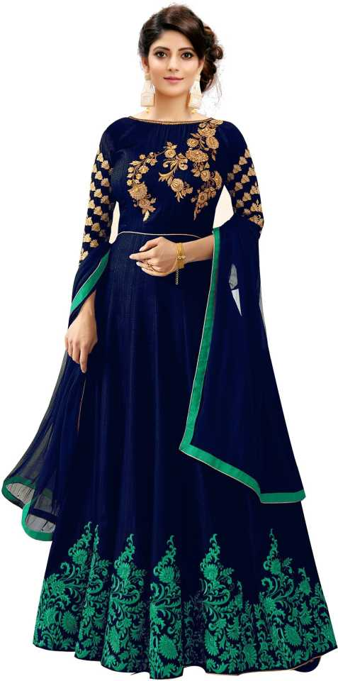 Embroidered Fentam Silk Semi Stitched Anarkali Gown
