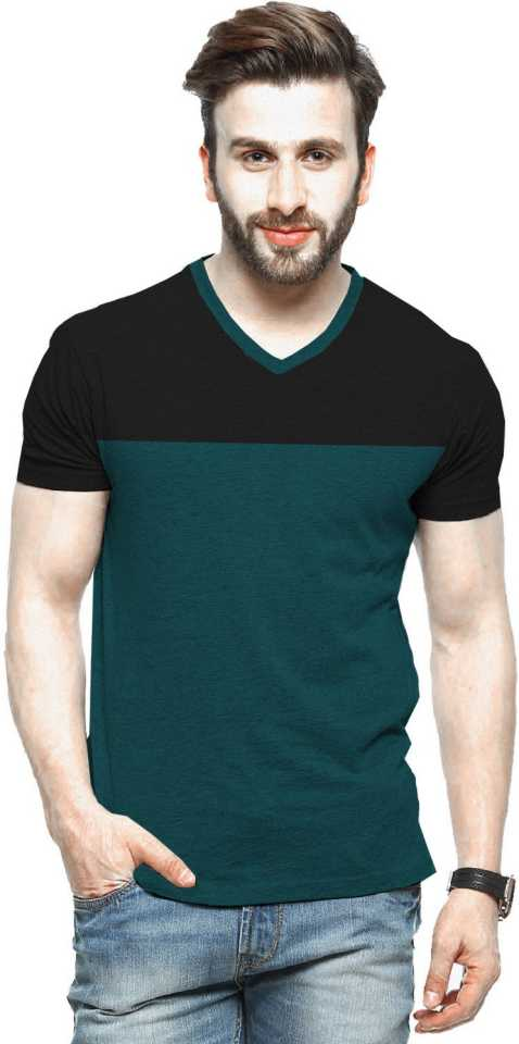 Tripr Color block Men V-Neck Green, Black T-Shirt