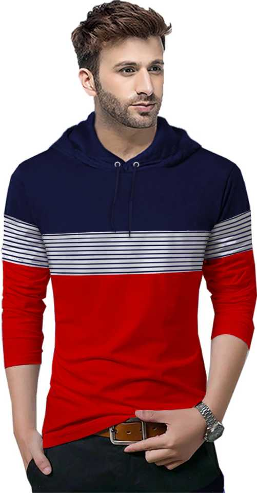 Striped Men Hooded Neck T-Shirt