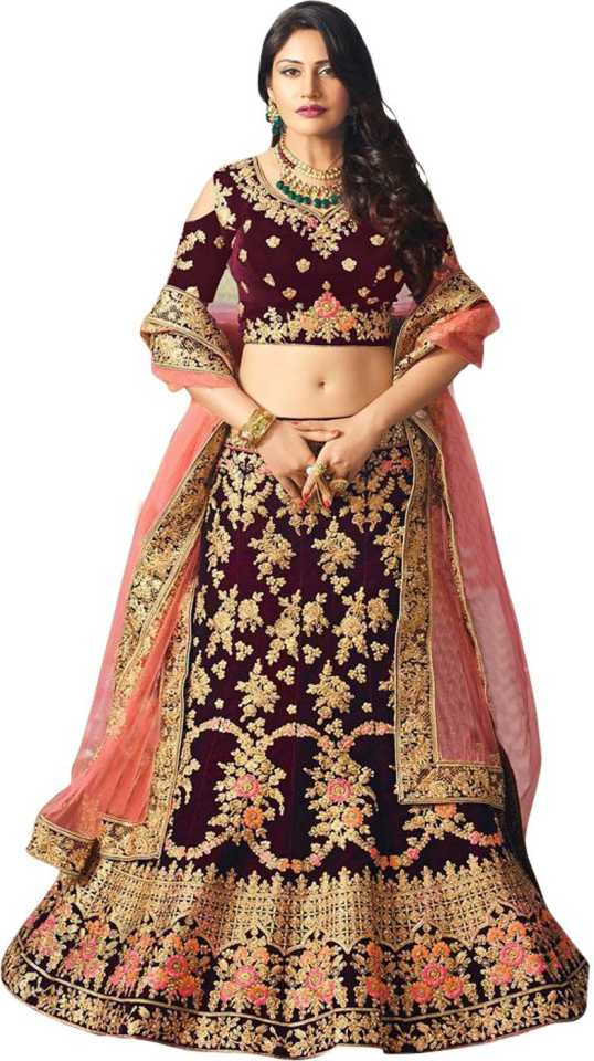 Embroidered Semi Stitched Lehenga, Choli and Dupatta Set