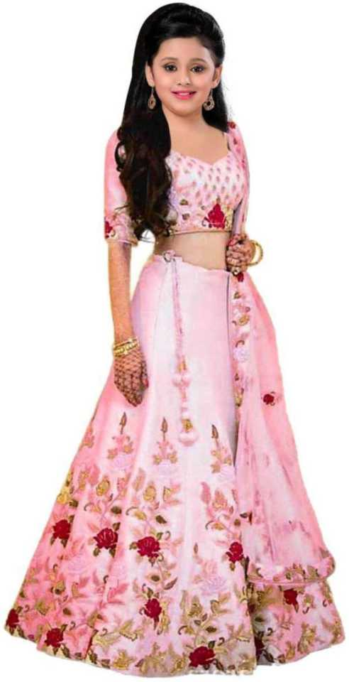 Girls Lehenga Choli Party Wear, Ethnic Wear Embroidered Lehenga, Choli and Dupatta Set