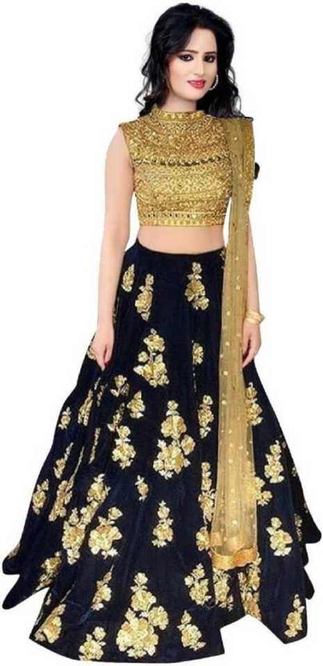 Embroidered Semi Stitched Lehenga, Choli and Dupatta Set  (Gold)